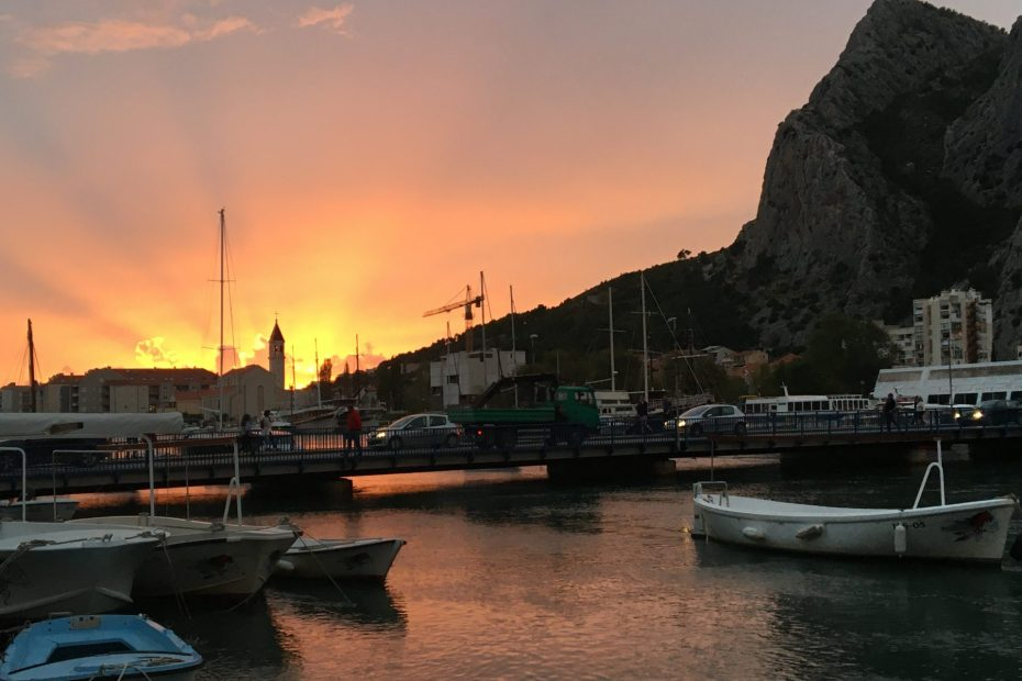 Sunset Omis harbour Escorted Motorhome Tour Captivating Croatia