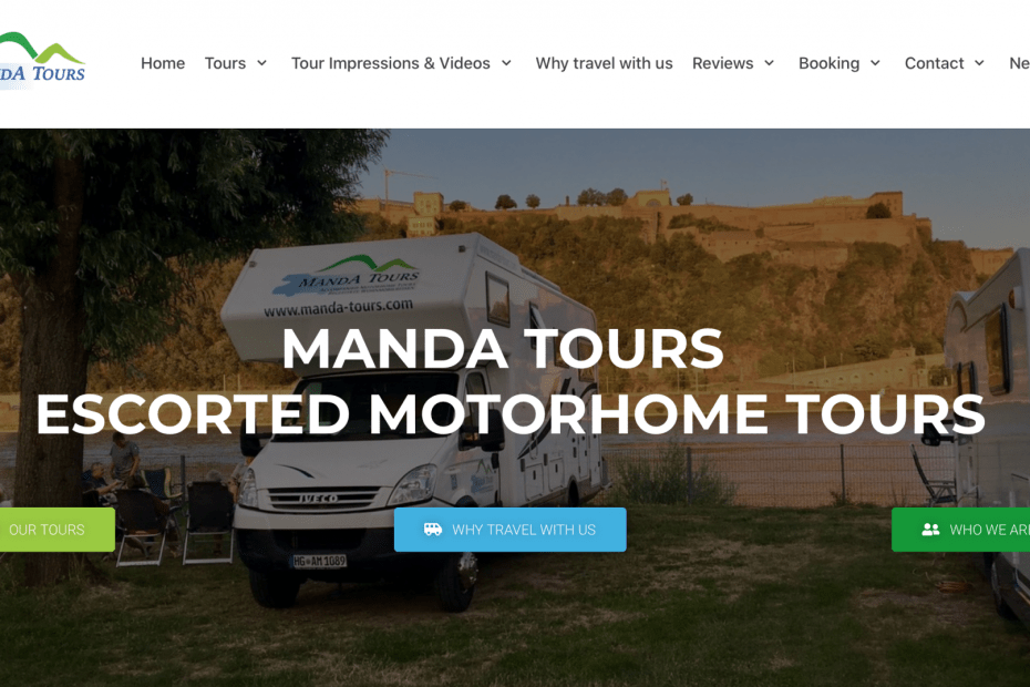 Screenshot new website 2020 MandA Tours