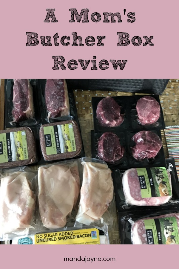 """Display of Meat with Text Overlay """"A Mom's Butcher Box Review"""""""