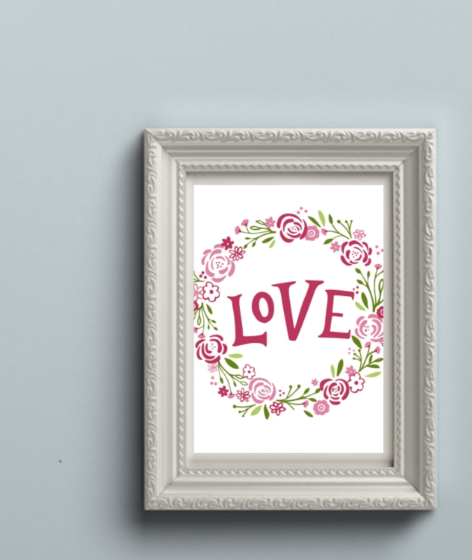 Wreath of Roses with Love in the Middle in a Frame