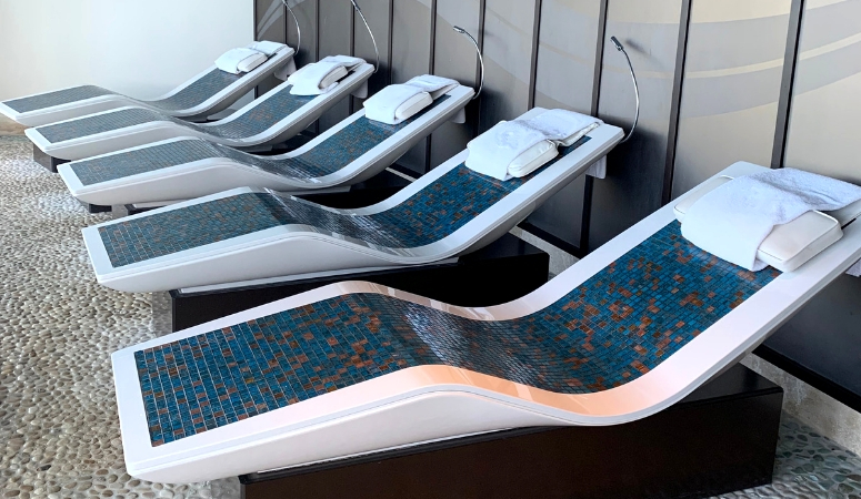 The heated loungers available in the Rainforest at Senses Spa.