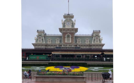 A picture of Magic Kingdom when it's rainy.