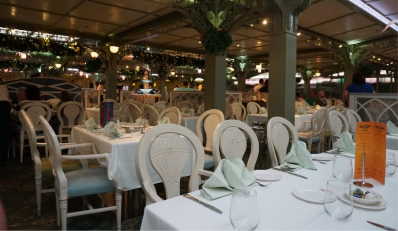 A view of the Enchanted Garden restaurant on the Disney Dream