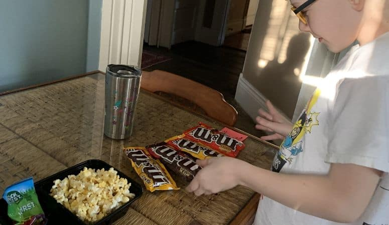 a makeshift home movie concession stand