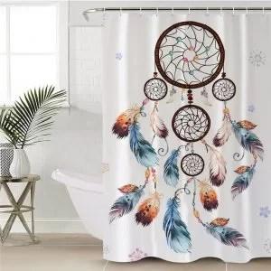 rideau de douche attrape reve avec plumes