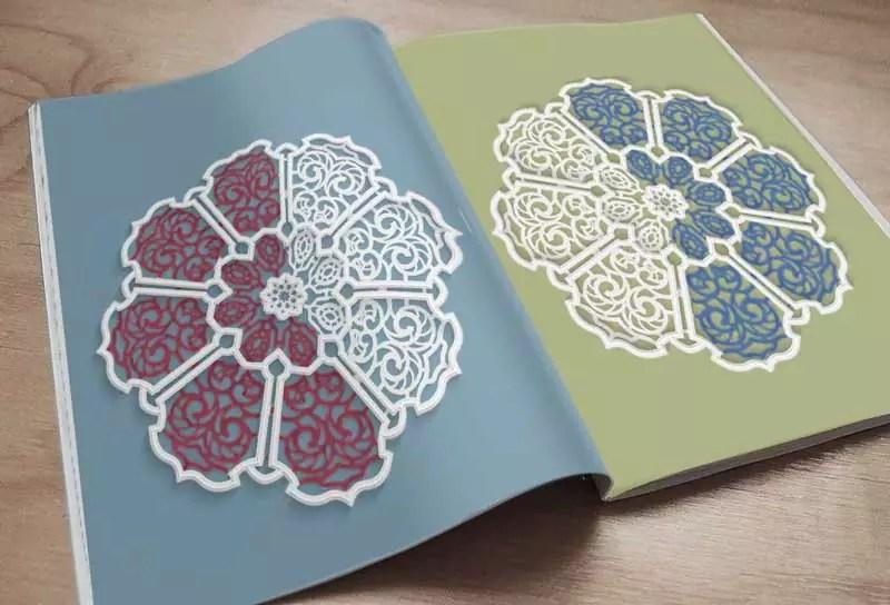 libro mandala da colorare aperto con esempi