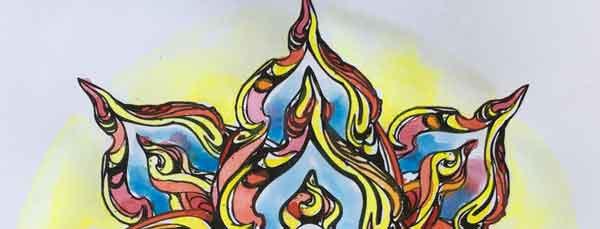 particolare del mandala burning monk