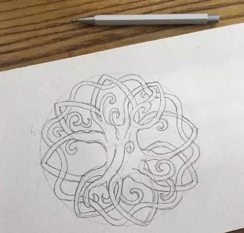 disegno del mandala da colorare a matita