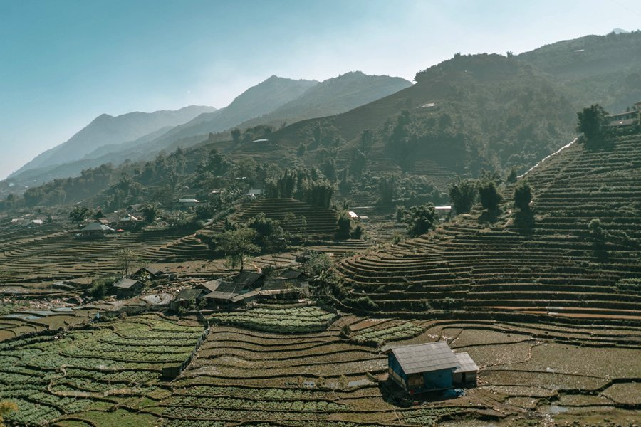 Mountains and rice terraces in Sapa, Vietnam