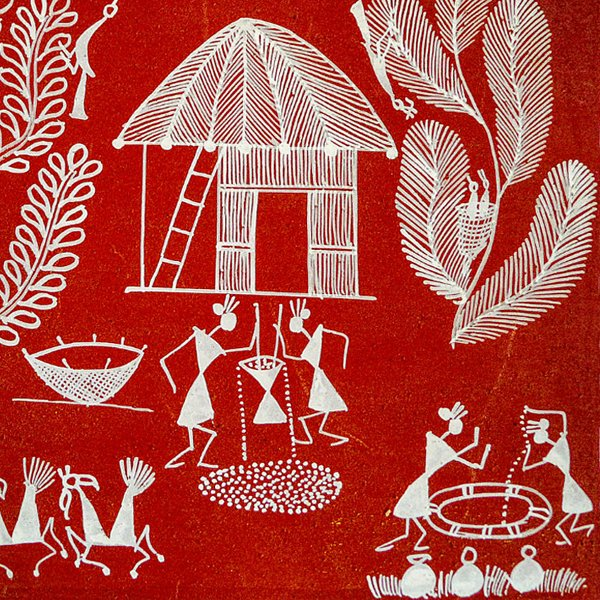 Traditional Arts & Crafts of Inida | Warli painting in white on a red background.