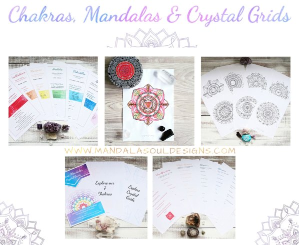 CHAKRAS MANDALAS & CRYSTAL GRIDS Ebook || Learn all about the Chakras with this free ebook || Mandala Soul Designs