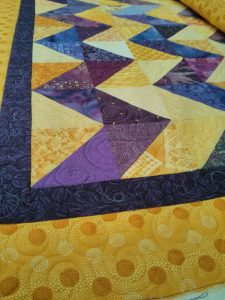 Zig zag, quilted, up close