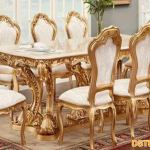 Italian White Gold Luxury Dining Set Mandap Exporters