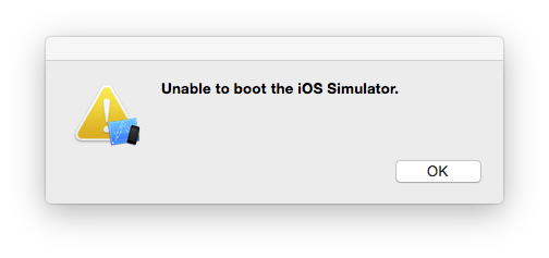 Unable to boot iOS Simulator in Xcode