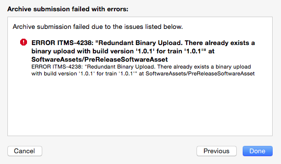 xcode organiser ERROR ITMS-4238 Redundant Binary Upload. There already exists a binary upload with build version