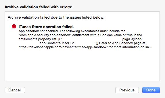 iTunes store operation failed app sandbox not enabled