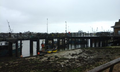 Newhaven Port, in the rain, where we stopped for lunch