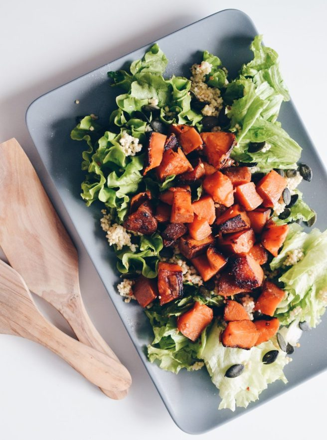 Sweet potato and greens salad