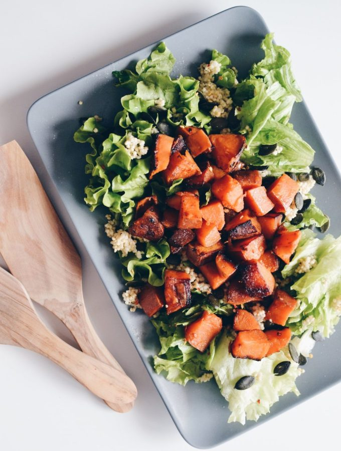 Sweet potato and greens salad