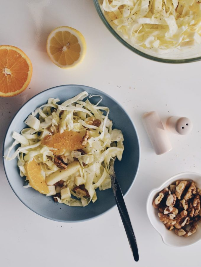 White cabbage and fruits salad