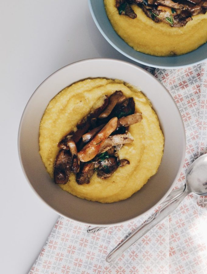 Creamy polenta & sautéed porcini mushrooms