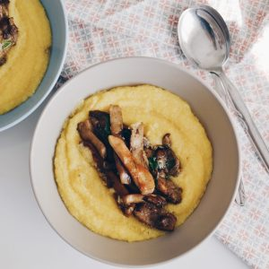 Creamy polenta with sauteed porcini mushrooms