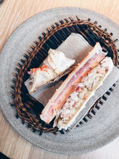 Hot smoked, then barbecued arctic king crab