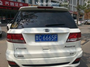 666 In Chinese White Van License Plate A