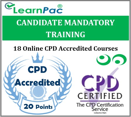 Candidate Mandatory Training – 18 Online CPD Accredited & CQC Aligned Courses – MTG 1