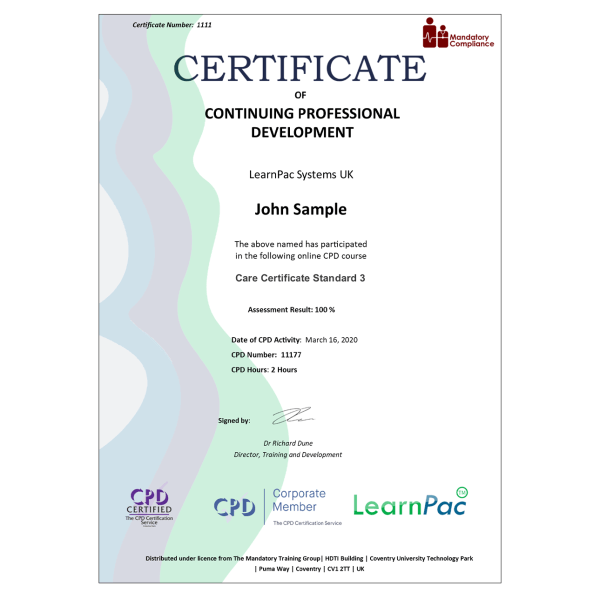 Care Certificate Standard 3 – eLearning Course – CPD Certified – Mandatory Compliance UK –
