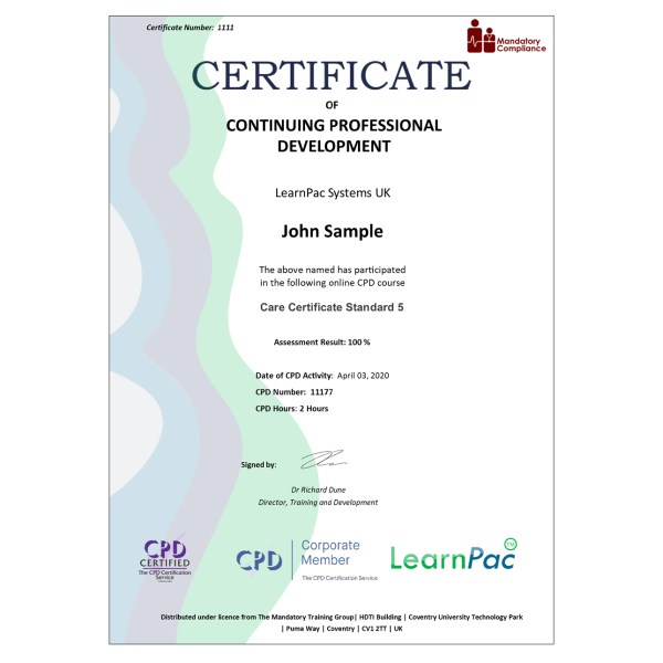 Care Certificate Standard 5 – eLearning Course – CPD Certified – Mandatory Compliance UK –