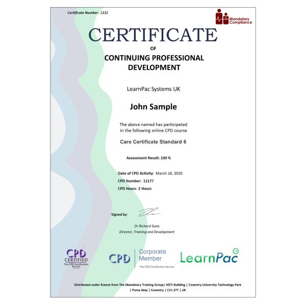 Care Certificate Standard 6 – eLearning Course – CPD Certified – Mandatory Compliance UK –