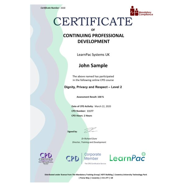 Dignity, Privacy and Respect – Level 2 – eLearning Course – CPD Certified – Mandatory Compliance UK –
