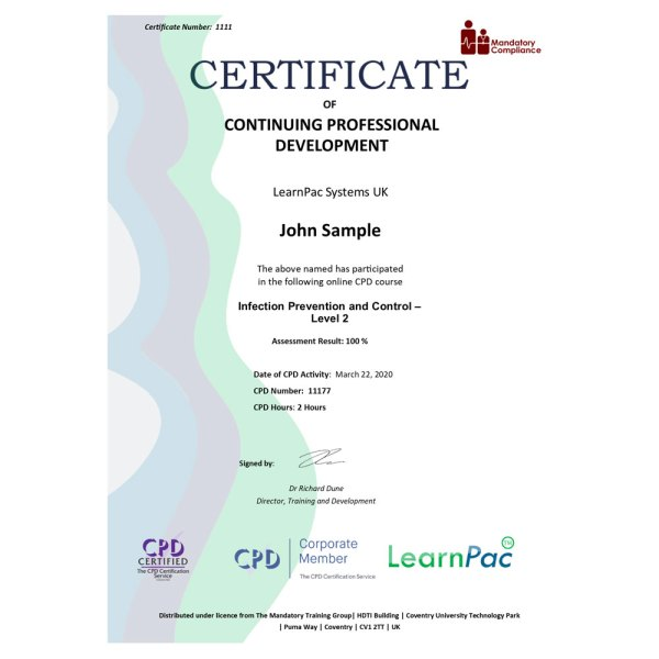 Infection Prevention and Control – Level 2 – eLearning Course – CPD Certified – Mandatory Compliance UK –