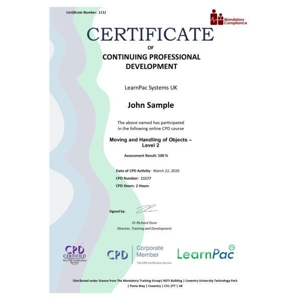 Moving and Handling of Objects – Level 2 – eLearning Course – CPD Certified – Mandatory Compliance UK –