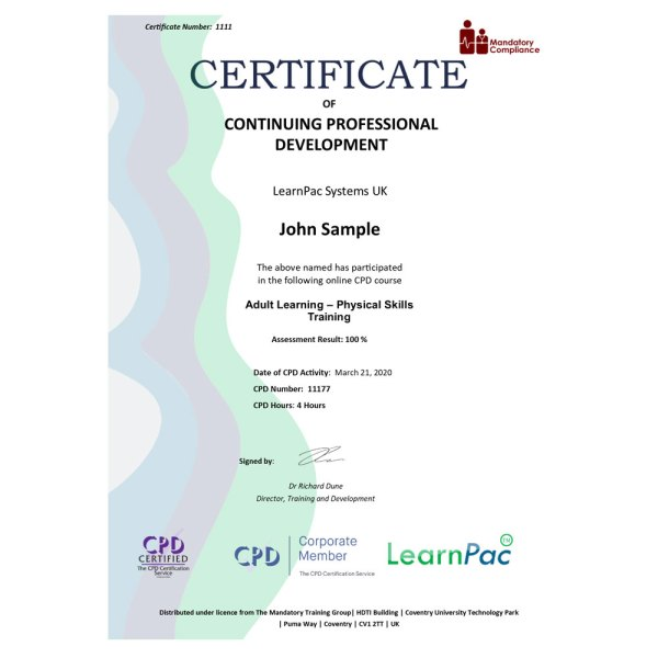 Adult Learning – Physical Skills Training – eLearning Course – CPD Certified – Mandatory Compliance UK –