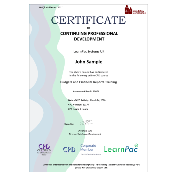 Budgets and Financial Reports Training – eLearning Course – CPD Certified – Mandatory Compliance UK –