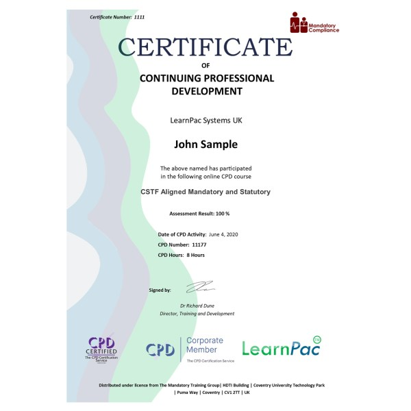 CSTF Aligned Mandatory and Statutory – eLearning Course – CPD Certified – Mandatory Compliance UK –