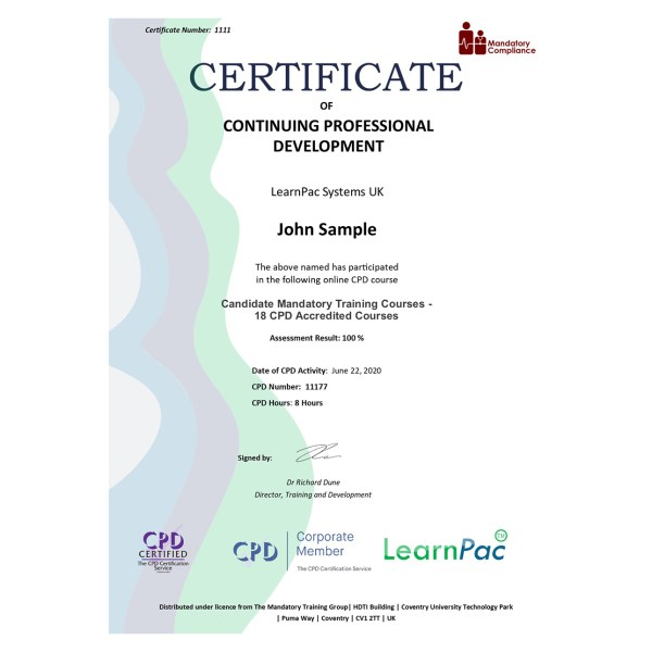 Candidate Mandatory Training Courses – 18 CPD Accredited Courses – eLearning Course – CPD Certified – Mandatory Compliance UK –