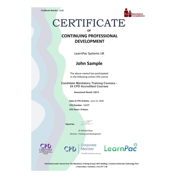 Candidate Mandatory Training Courses – 24 CPD Accredited Courses – eLearning Course – CPD Certified – Mandatory Compliance UK –