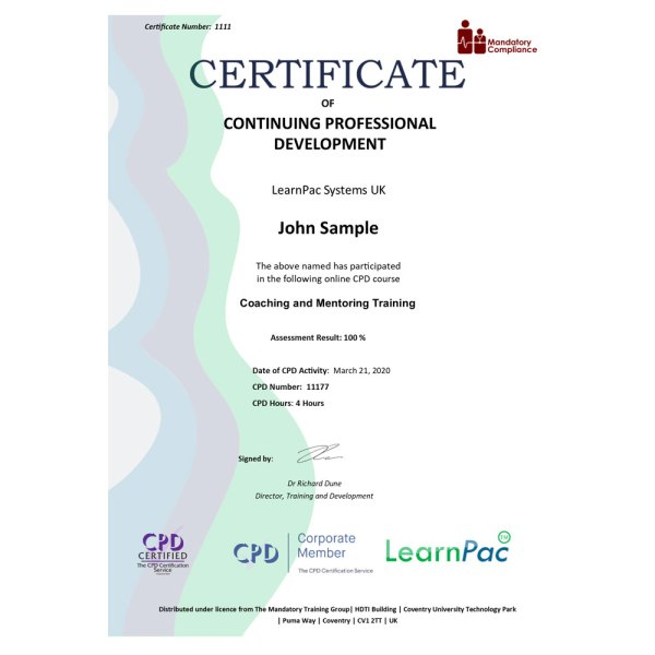 Coaching and Mentoring Training – eLearning Course – CPD Certified – Mandatory Compliance UK –