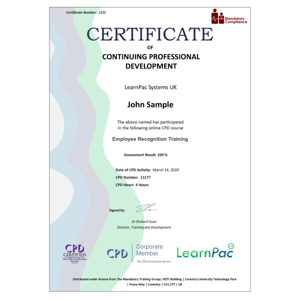 Employee Recognition Training – eLearning Course – CPD Certified – Mandatory Compliance UK –