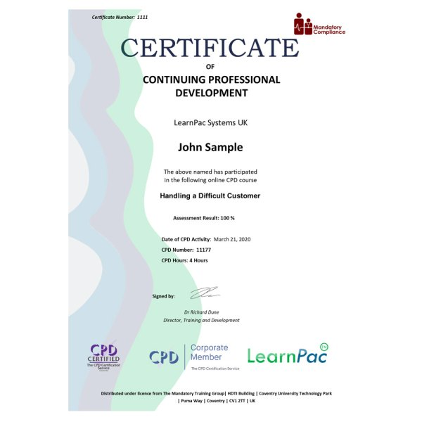 Handling a Difficult Customer – eLearning Course – CPD Certified – Mandatory Compliance UK –