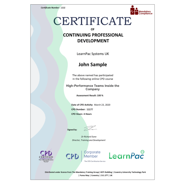 High-Performance Teams Inside the Company – eLearning Course – CPD Certified – Mandatory Compliance UK –