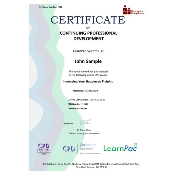 Increasing Your Happiness Training – eLearning Course – CPD Certified – Mandatory Compliance UK –