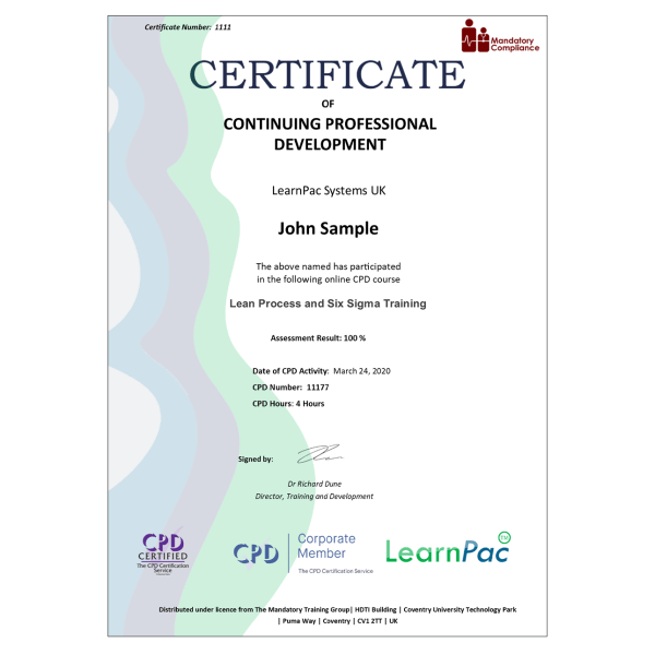Lean Process and Six Sigma Training – eLearning Course – CPD Certified – Mandatory Compliance UK –