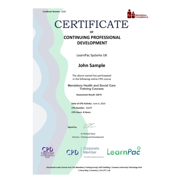 Mandatory Health and Social Care Training Courses – eLearning Course – CPD Certified – Mandatory Compliance UK –