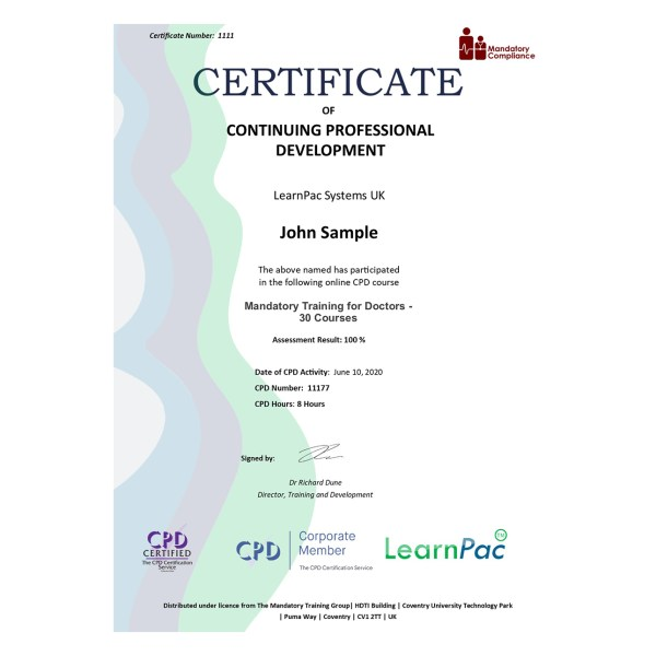 Mandatory Training for Doctors – eLearning Course – CPD Certified – Mandatory Compliance UK –