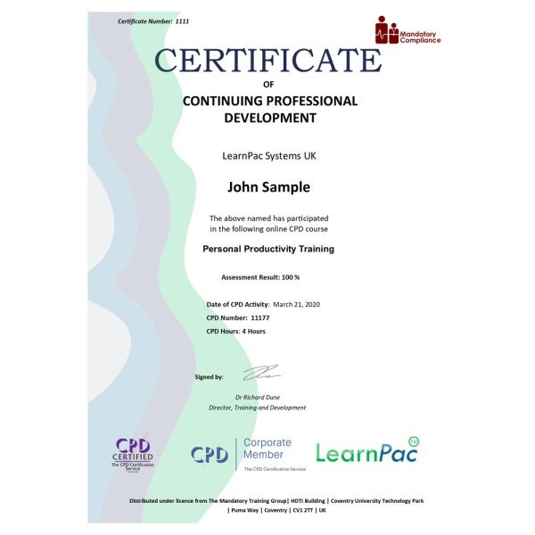 Personal Productivity Training – eLearning Course – CPD Certified – Mandatory Compliance UK –