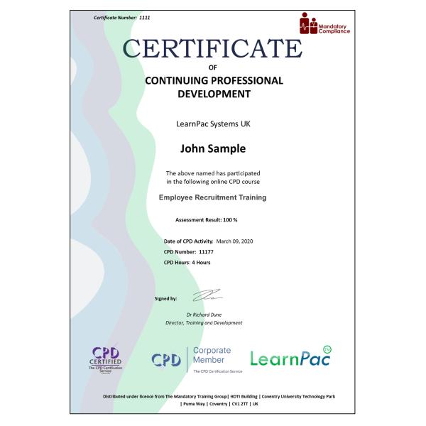 Employee Recruitment Training – eLearning Course – CPD Certified – Mandatory Compliance UK –